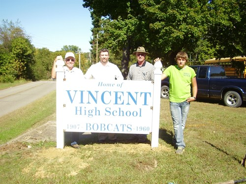 """Home of Vincent High School"" Sign Moved"